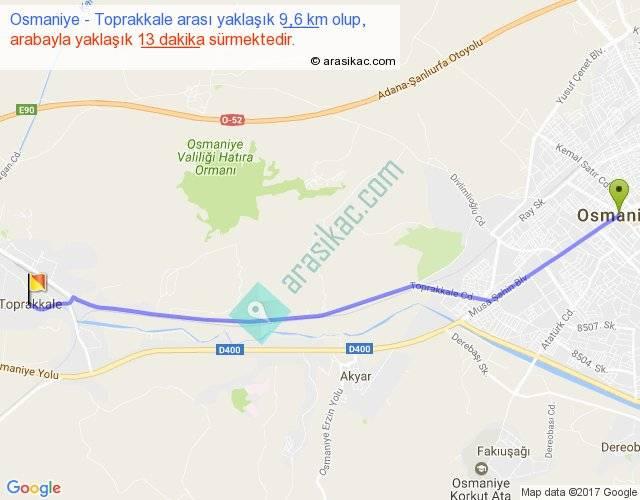 Osmaniye Toprakkale Arası Kaç Km Saat
